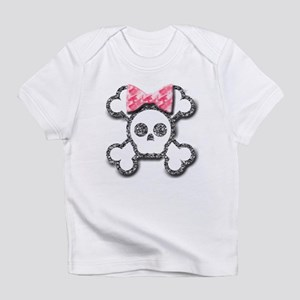 Girl Skull and Crossbones Pink Bow Infant T-Shirt