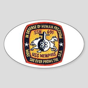 USS Memphis SSN 691 Oval Sticker