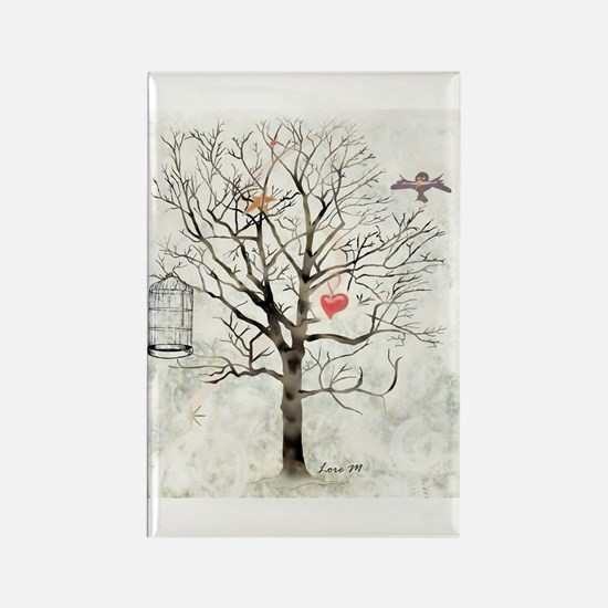 Winter and heart - Rectangle Magnet