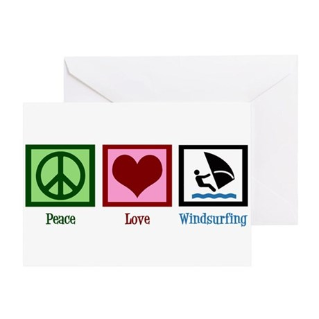 Peace Love Windsurfing Greeting Card