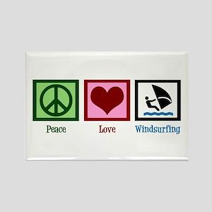 Peace Love Windsurfing Rectangle Magnet