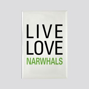 Live Love Narwhals Rectangle Magnet