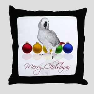 african grey christmas Throw Pillow