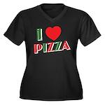 I love PIZZA Women's Plus Size V-Neck Dark T-Shirt