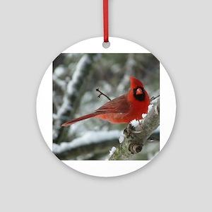 Cardinal Winter Round Ornament
