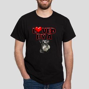 Loved by a Miniature Schnauzer Dark T-Shirt