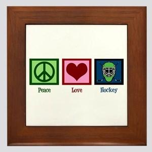 Peace Love Hockey Framed Tile