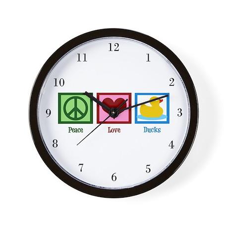 Peace Love Ducks Wall Clock