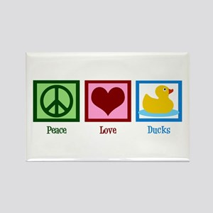 Peace Love Ducks Rectangle Magnet