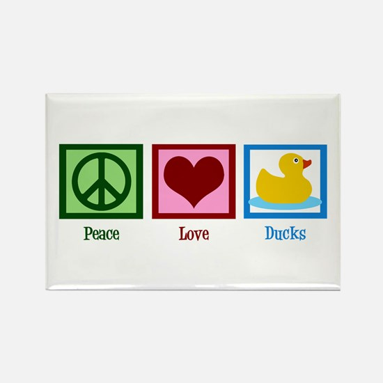 Peace Love Ducks Rectangle Magnet