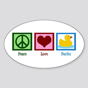 Peace Love Ducks Sticker (Oval)
