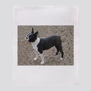 Boston Terrier Pup2 Throw Blanket