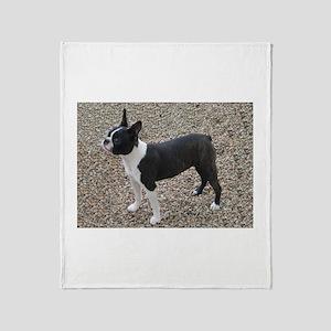 Boston Terrier Pup2 Throw Blanket
