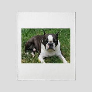 Chip the Boston Terrier Throw Blanket