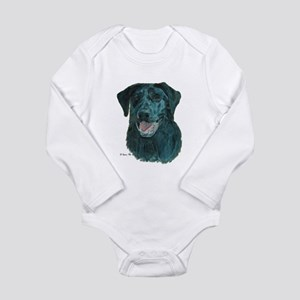 Dakota, the Black Lab Long Sleeve Infant Bodysuit