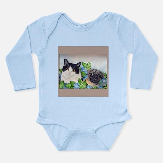 Emmet the Pug & Oreo Long Sleeve Infant Bodysu