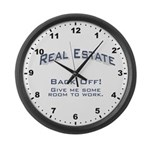 Real Estate - Back Off! Large Wall Clock