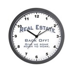 Real Estate - Back Off! Wall Clock