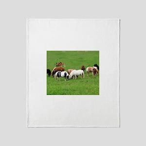 Mini Horses in Pasture Throw Blanket