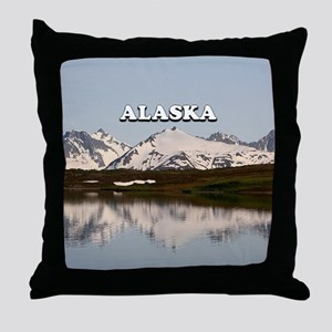 Alaska: Lake reflections of mountains Throw Pillow