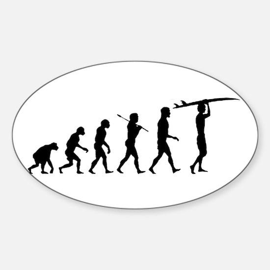 Surfing Evolution Sticker (Oval)