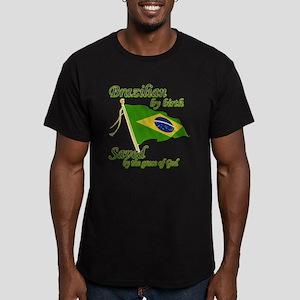 Brazilian by birth Men's Fitted T-Shirt (dark)