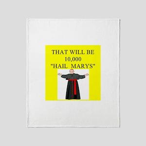 catholic joke Throw Blanket
