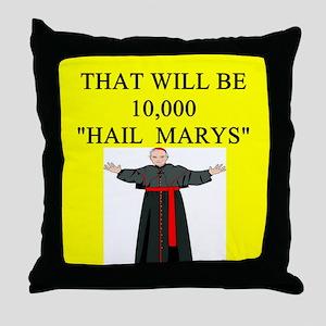 catholic joke Throw Pillow