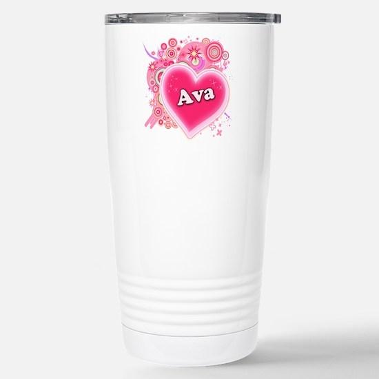 Ava Heart Art Stainless Steel Travel Mug
