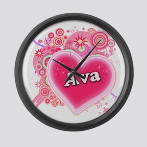 Ava Heart Art Large Wall Clock