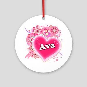 Ava Heart Art Ornament (Round)