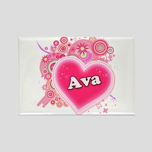 Ava Heart Art Rectangle Magnet