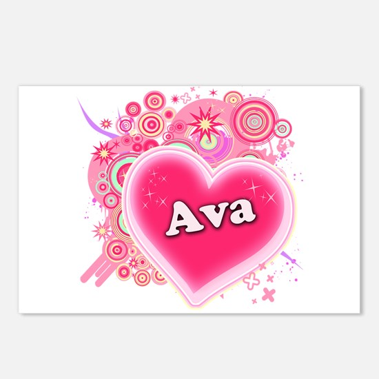 Ava Heart Art Postcards (Package of 8)