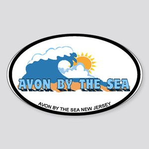 Avon NJ - Waves Design Sticker (Oval)