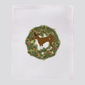 Chihuahua Xmas Wreath Throw Blanket