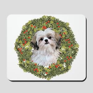 Shih Tzu Xmas Wreath Mousepad