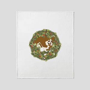 Corgi Xmas Wreath Throw Blanket