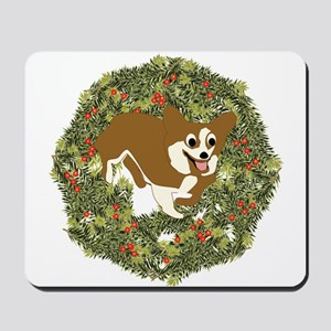 Corgi Xmas Wreath Mousepad