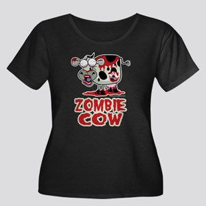 Zombie Cow Women's Plus Size Scoop Neck Dark T-Shi