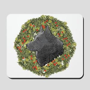 Schipperke Xmas Wreath Mousepad