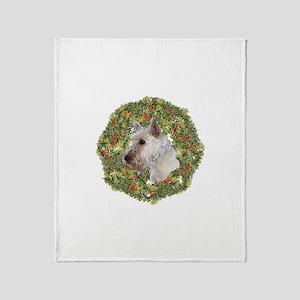Scotty (Wheaten) Xmas Wreath Throw Blanket