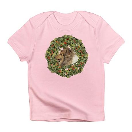 Collie Xmas Wreath Infant T-Shirt