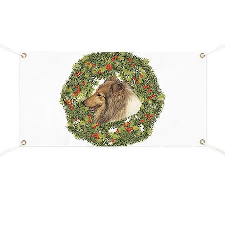 Collie Xmas Wreath Banner