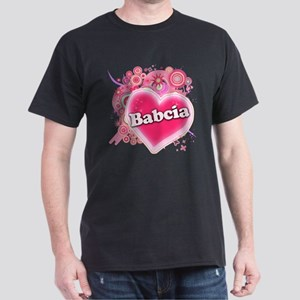 Babcia Heart Art Dark T-Shirt