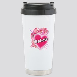 Babcia Heart Art Stainless Steel Travel Mug