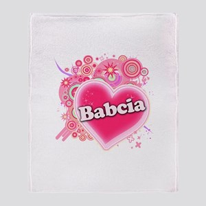 Babcia Heart Art Throw Blanket