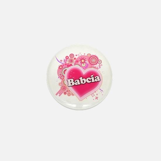 Babcia Heart Art Mini Button