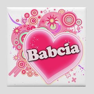 Babcia Heart Art Tile Coaster