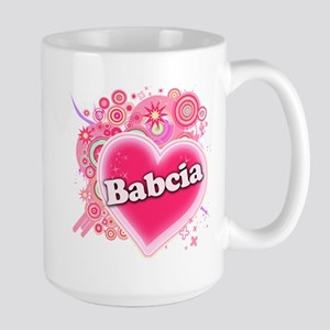 Babcia Heart Art Large Mug