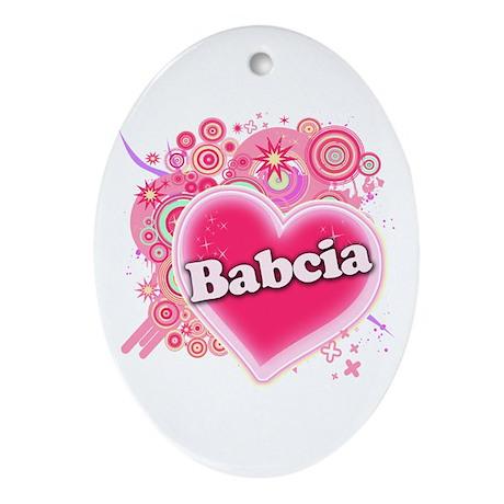 Babcia Heart Art Ornament (Oval)